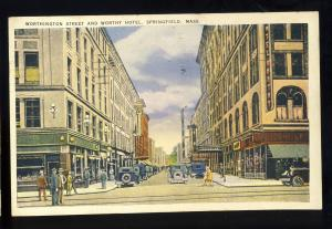 Springfield, Massachusetts/MA/Mass Postcard, Worthy Hotel, Worthington St, 1937!