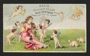 VICTORIAN TRADE CARD Hall's Hair Renewer Lady Cupids Bunnies