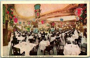 Los Angeles, Calif. Postcard CAFÉ BRISTOL 4th and Spring Streets c1910s UNUSED