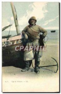 Postcard Old Fishing type fisherman