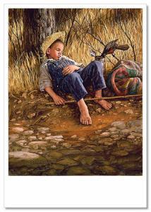 COWBOY hunter on horse hunting trophies JIM DALY KIDS ART Modern Postcard
