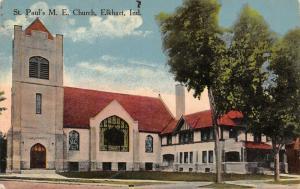 Elkhart Indiana~St Paul's Methodist Episcopal ME Church~Parsonage~1915 Postcard