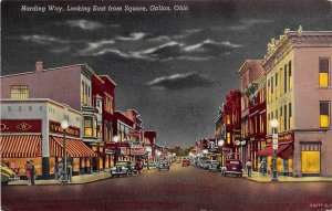 Galion Ohio 1952 Postcard Harding Way Looking East Woolworth Stores Cars Night