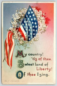 Ellen H Clapsaddle Patriotic~My Country Tis of Thee~American Flag~White Flowers