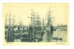 Scene, Sailboats, Segelschiffhafen, Hamburg, Germany, 1900-1910s