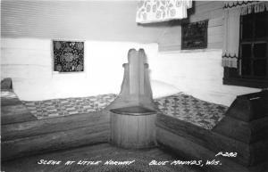 Blue Mounds Wisconsin~Little Norway Scene~Bedroom~2 Beds~1940s RPPC