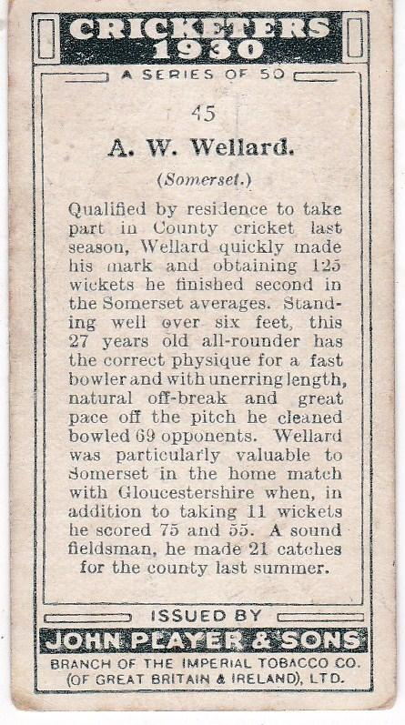 Cigarette Cards Player's Cricketers 1930 No 45 - A W Wellard