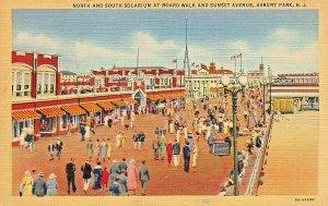 ASBURY PARK NJ~NORTH & SOUTH SOLARIUM AT BOARD WALK  & SUNSET AVENUE POSTCARD
