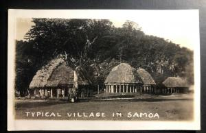 Mint American Samoa Real Picture Postcard RPPC Typical Village 1937