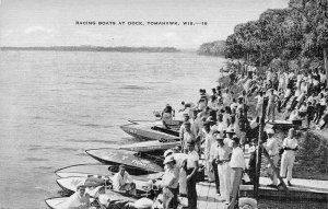 Motor Racing Boats at Dock Tomahawk Wisconsin linen postcard