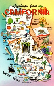 California Greetings With Map