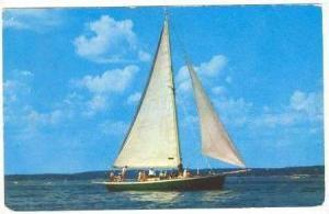 Under Full Sail,Cape Cod, Massachusetts, PU1955