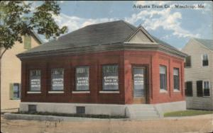 Winthrop ME Augusta Trust co Bank c1910 Postcard