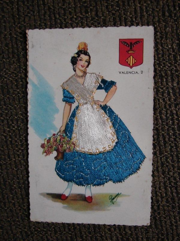 Valencia, Spain Women in Native Costume Blue Dress Embroidered Postcard