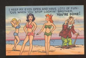 THREE WOMEN SWIMSUIT GIRLS BATHING BEAUTY OLD MAN VINTAGE COMIC POSTCARD