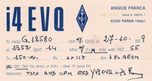 Parma Italy 1970s QSL Amateur Radio Italian Old Contact Card