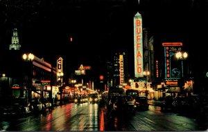 New York Buffalo Main Street Looking South At Night 1964