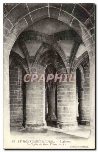 Mont Saint Michel Old Postcard L & # 39abbaye The crypt of large pillars