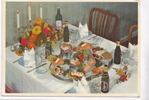 Denmark, Open Danish sandwiches, beer and snaps, 1964 used Postcard
