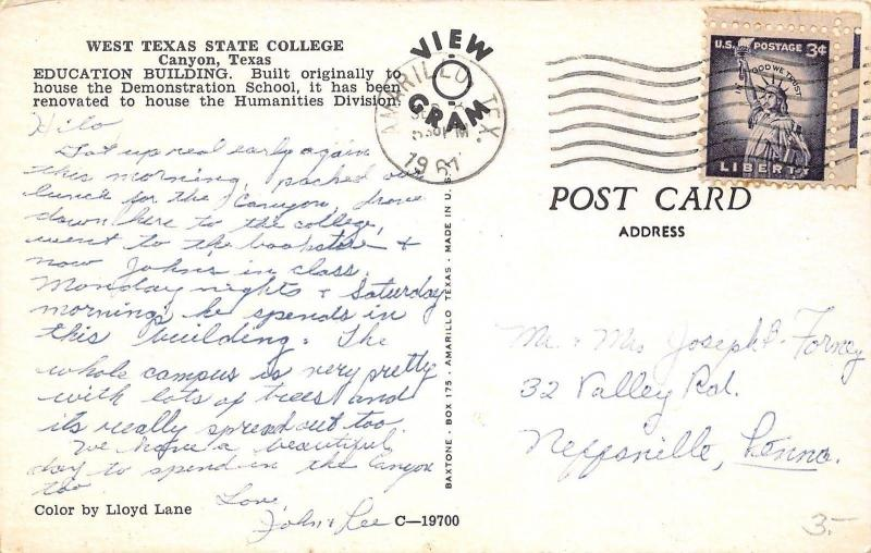 Canyon Texas~West Texas State College~Education Building~1961 Postcard