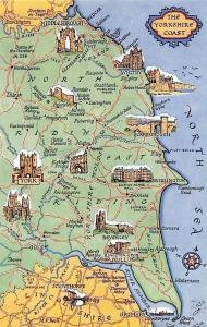 The Yorkshire Coast Map, Lincolnshire York Cathedral Selby