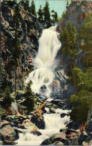 Fish Creek Falls , Colorado Steamboat Springs LINEN Vintage POSTCARD