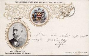 Governor Preston Lea of Delaware c1905 Official State Seal Postcard F11