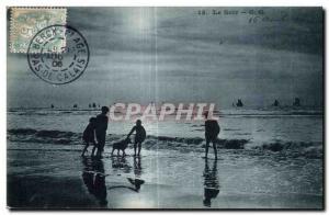 Old Postcard The Evening Sunset Beach
