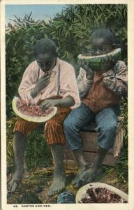 Two Black Boys Rastus and Ned eating a Watermelon (1930s)