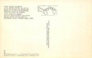 RMS Queen Elizabeth Cristobal Harbor Panama Canal Zone c1960s Vintage Postcard
