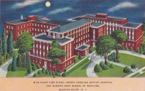 North Carolina Winston Salem Night Time Scene North Carolina Baptist Hospital...