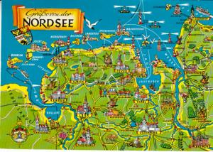 Germany - Nord See Map 1972 Mied Franking
