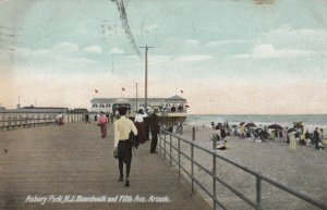 ASBURY PARK , New Jersey , 1908 ; Boardwalk & Fifth Avenue,  Arcade