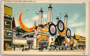 Vintage CONEY ISLAND New York Postcard ENTRANCE TO LUNA PARK Linen 1943 Cancel