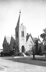 Chariton IA~Methodist Church~Steeple & Street Lamp~RPPC 1940s