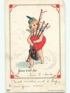 Pre-1907 valentine CUPID PLAYS HEART SHAPED SCOTTISH BAGPIPES k5448