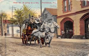 Providence Rhode Island~Hose No 22 Going to a Fire~Pumper Wagon~Firemen~1910 PC