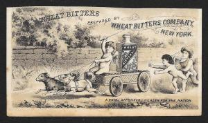 VICTORIAN TRADE CARD Wheat Bitters Cupids Dogs Pulling Cart