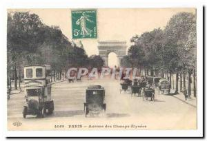 Paris (8th) Postcard Old Champs Elysees (bus car)