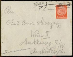 Germany 1938 Austrian GESTAPO Cover Vienna Hahngasse 81478