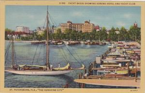 Florida St Petersburg Yacht Basin Showing Soreno Hotel and Yacht Club Curteich