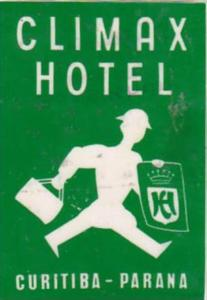 BRASIL PARANA CLIMAX HOTEL VINTAGE LUGGAGE LABEL