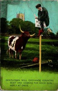 Gentlemen Exchange Camera for Gun Bull Humor Postcard used (15711)