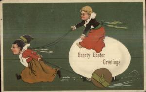 Easter - PFB Children Giant Egg Nicely Embossed c1910 Postcard