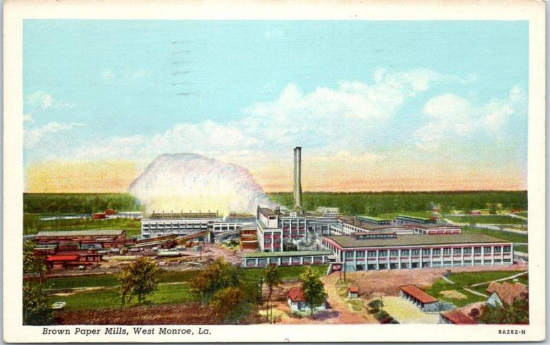 West Monroe, Louisiana Postcard BROWN PAPER MILLS Factory Bird's-Eye