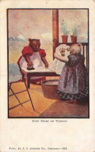 Busy Bears~Tuesday: Lady Bears Ironing~Claw Paw Print on Shirt~JI Austen #428 PC