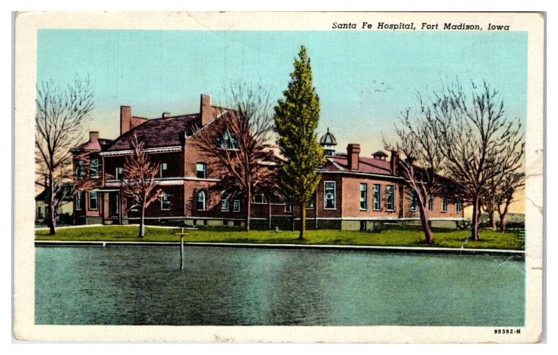 1943 Santa Fe Hospital, Fort Madison, IA Postcard
