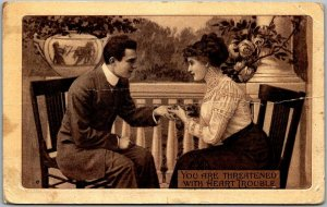 Vintage Romance / Greetings Postcard You Are Threatened With Heart Trouble