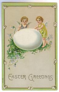 Farmington to Milford, Michigan Embossed Easter Greetigs Postcard, used 1908