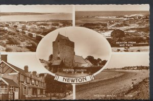 Wales Postcard - Views of Newton Caravan Camp, Newton Hotel & Beach  DC739